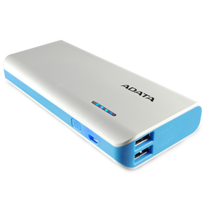 ADATA PT100 10000mAh Power Bank - White/Blue